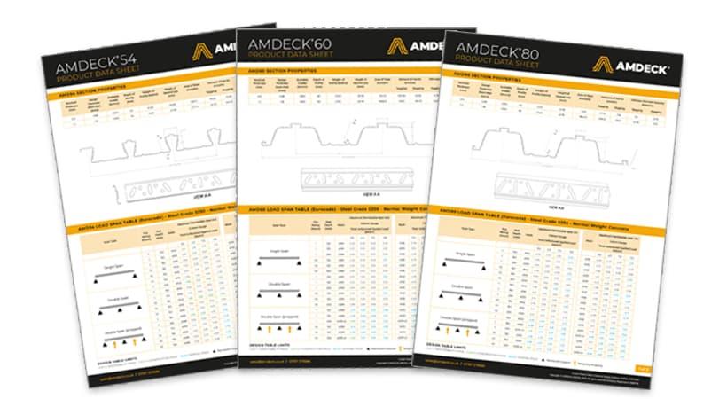 New AMDECK Technical Data Sheets